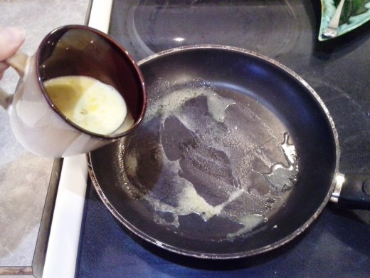 Step Five: When melted, add your egg mixture