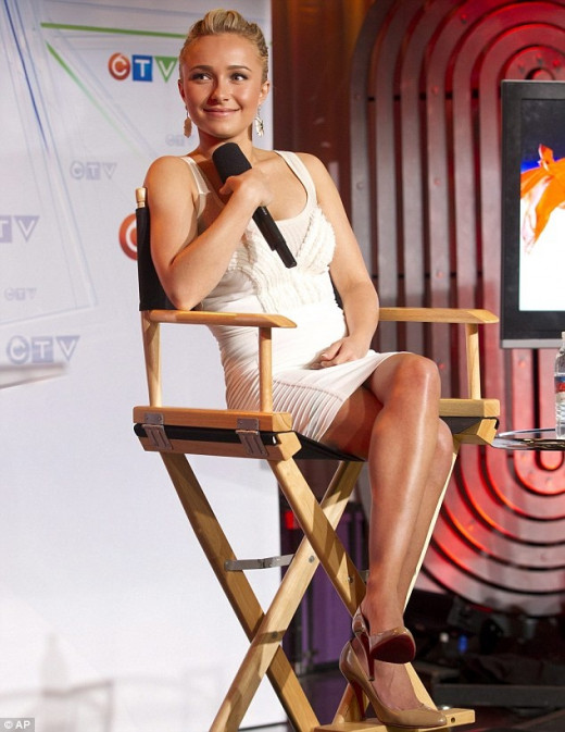 Hayden Panettiere crossed legs in a white mini dress and high heels
