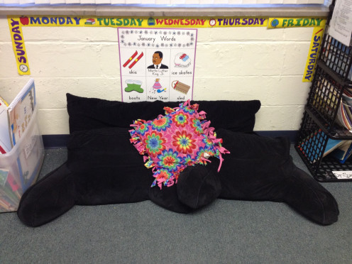 Cushions in the reading corner
