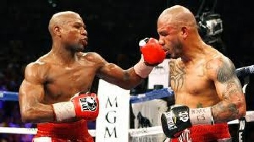 Floyd Mayweather beat Miguel Cotto in a tough jr. middleweight title fight. Even though Floyd won most of the rounds it was still very competitive in every heat.