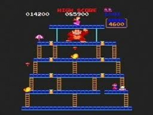 Donkey Kong features Mario from the Mario Brothers games and of course Kong who tosses logs at you. This has been a favorite of kids for decades now.