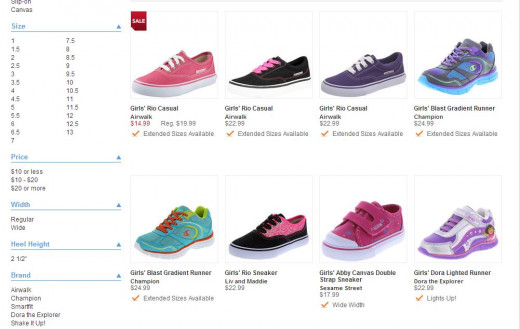 Another snipe of girl's sneakers on the Payless website.