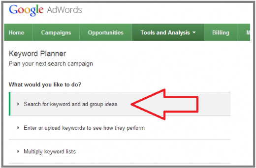 google keyword planner to find new keywords