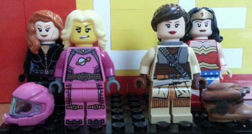 These female Lego figures (Black Widow, an astronaut, Princess Leia and Wonder Woman) certainly go on adventures.