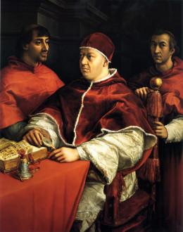 Portrait of Pope Leo X and his cousins, cardinals Giulio de' Medici and Luigi de' Rossi