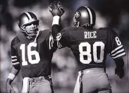 Joe Montana and Jerry Rice were a fearsome duo in their primes. They won several Super Bowls together and Rice was Montana's number one target.