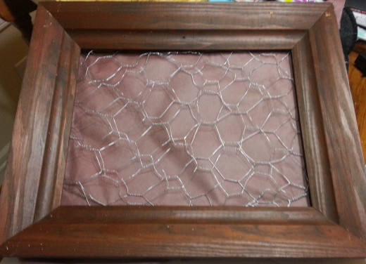 Old Picture Frame, Chicken Wire and Organic Landscape Fabric