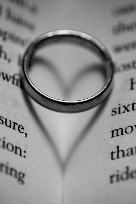 What defines marriage? Wedding ring heart.
