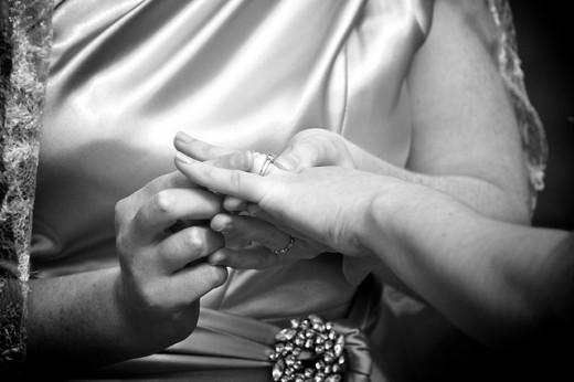 Lesbians exchange wedding rings.