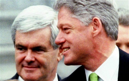 Speaker of the House Newt Gingrich and President Bill Clinton