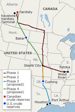 Legs of the proposed complete Keystone XL pipeline.