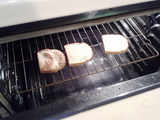 Step Thirteen: Pop a few pieces of bread into the toaster or oven for a few minutes to toast them