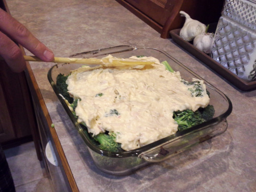 Step Fifteen: Spread your mixture evenly over the top of your casserole dish