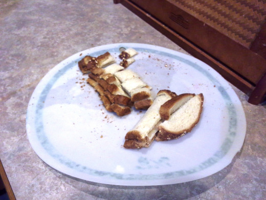 Step Seventeen: Chop your toasted bread into small pieces