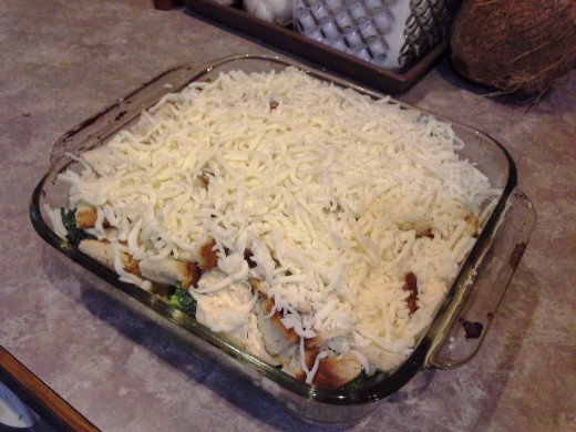 Step Twenty-one: Spread your cheese evenly over the top and bake for 30 minutes