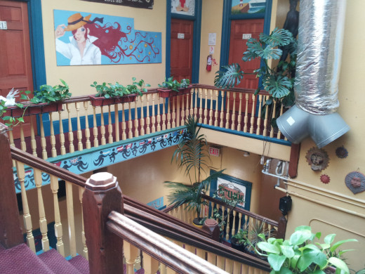 Interior staircase of the hostel in San Diego in which I stayed.  4 nights cost me under $100