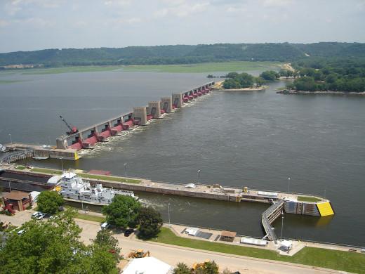 Lock and dam in Dubuque, Iowa.