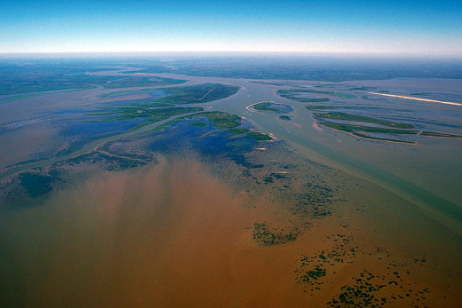 Atchafalaya river delta in the Gulf of Mexico.