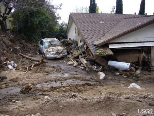 House damaged during a debris flow in February 2010.