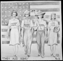 Depiction of women during WWII, demonstrating the types of jobs they might do while men fought overseas.