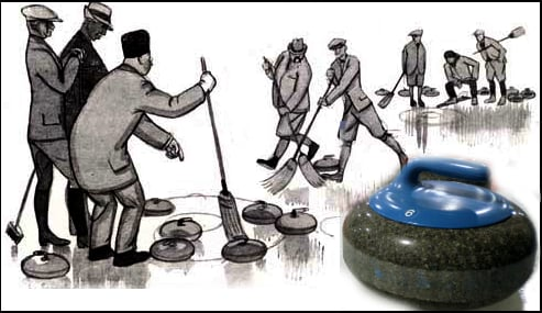 A modern stone is juxtaposed over a curling illustration from a 1924 publication.