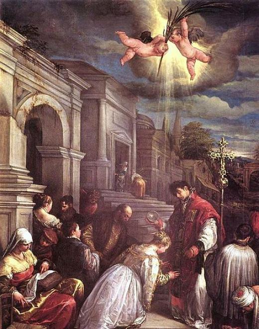 Saint Valentine baptizing St. Lucilla by Jacopo Bassano (Jacopo da Ponte)