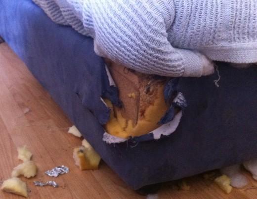 Someone ate the corner of the sofa.