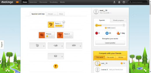 The modern Duolingo account dashboard. The tree represents each section (such as food, clothing, professions etc). Each section consists of vocabulary and lessons to teach you the words.