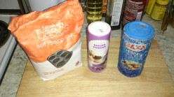 Very basic ingredients for the dough. here I am using self raising flour as it is what I had in the cupboard.
