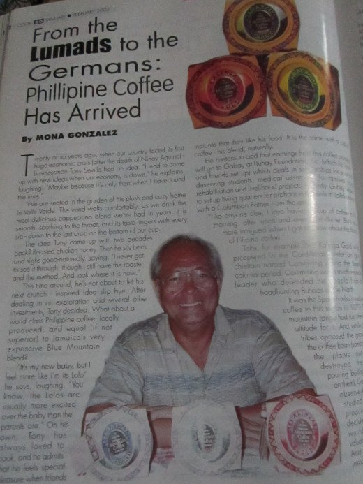 First page of article shows Tony Sevilla with his product, Philippine Mountain Coffee