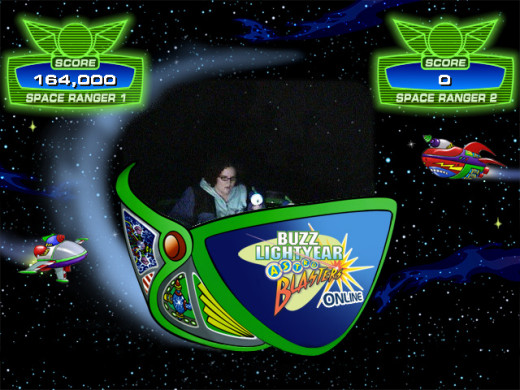 An example of the type of photo that is taken on Buzz Lightyear Astro Blaster, showing your score.