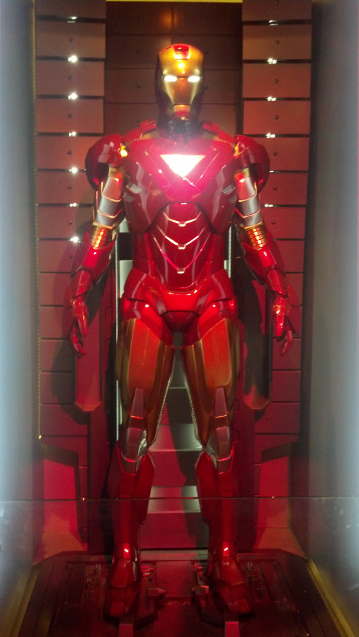 One of the several Iron Man suits on display.
