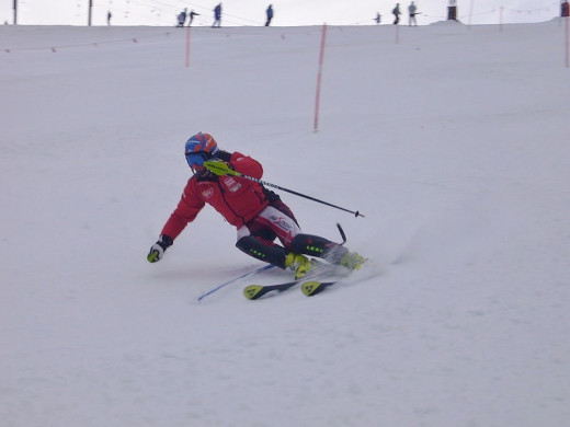 Skier on a slalom course