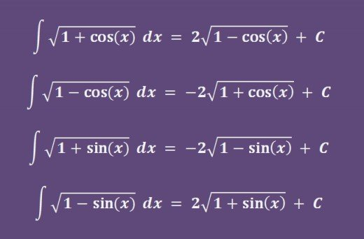 Integrals of sqrt(1+cos(x)), sqrt(1-cos(x)), sqrt(1+sin(x)), sqrt(1-sin(x)).