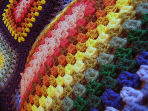 Giant Colorful Granny Square Crochet Afghan