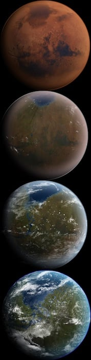 Beautiful rendition of the gradual process of terraforming Mars.