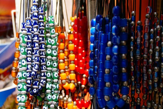 Strings of brightly colored beads for your crafting needs...