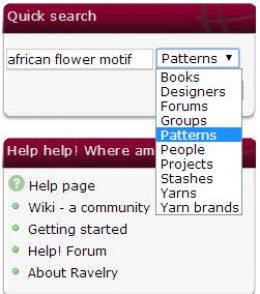 "The drop-down menu allows you to search for books, designers, forums, groups, patterns, people, projects, stashes, yarns, and yarn brands. To find a pattern, either choose ""patterns"" or ""projects."""