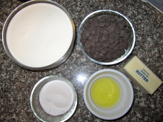 Ingredients: heavy whipping cream, semi-sweet chocolate chips, butter, sugar, and one egg white.