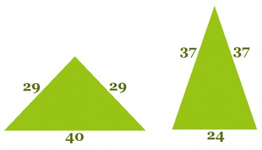 Triangles with same perimeter and area.