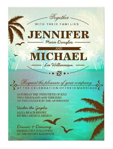 Fully customizable tropical destination wedding invitations by Oddlotpaperie.
