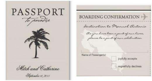 Passport to Paradise wedding invitations and boarding pass ticket rsvp Costa Rica wedding invitations.by La Bella Rue