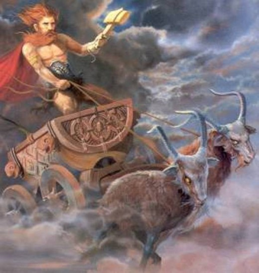 Thor driving his Chariot.
