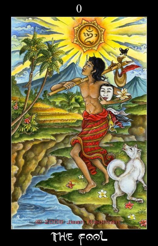 """A Hindu """"Fool"""" Tarot card."""