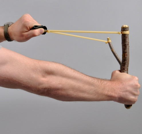 The sling shot was and still is a very popular toy for kids and adults. It can launch small pellets or even rocks and stones.