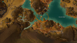 Path from WP to chest. Ignore path thru Windrock maze, the chest is NOT in there, it's in the valley just south of it.