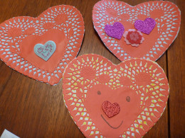 Red heart doily Valentine's Day cards