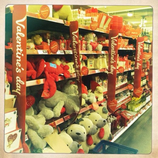 A great selection of stuffed toys, chocolate roses and love heart garlands all at very reasonable prices from Sainsburys