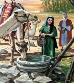 Eliezer meeting Rebekah at the well.