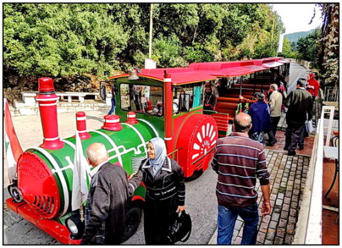 Disney like small steam engined rail takes you to the lower cave of the Jeita Grotto.